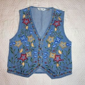 Vintage 80s-90s Embroidered Denim Vest Size M